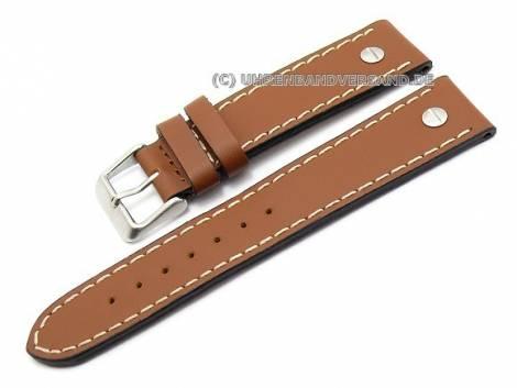 Uhrenarmband 24mm braun (natur) Birkenstock -Chrono Matt- glatt mit Zierschrauben (Schließenanstoß 22 mm) - Bild vergrößern