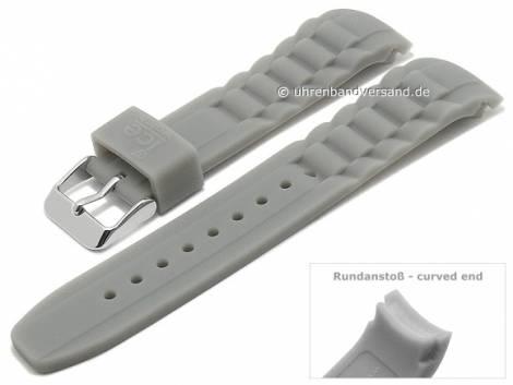 Original-Ersatzband ICE Watch 19mm grau Silikon mit Struktur matt Rundanstoß (Schließenanstoß 20 mm) - Bild vergrößern