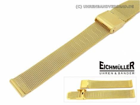 Uhrenarmband 12mm Edelstahl vergoldet Milanaise elegant Schiebeverschluss - Bild vergrößern