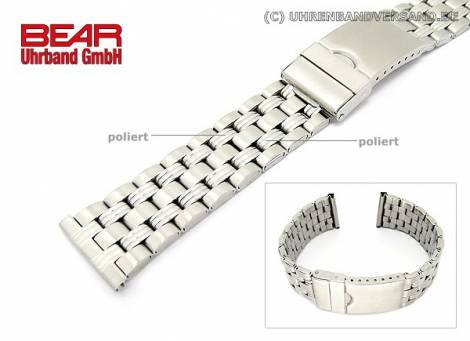 Edelstahl-Uhrband XL 22mm teilweise poliert sportlich-elegant von BEAR - Bild vergrößern
