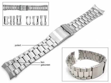 Uhrenarmband 22-26mm Edelstahl EULIT teilweise poliert Wechselanstoß rund/gerade - Bild vergrößern