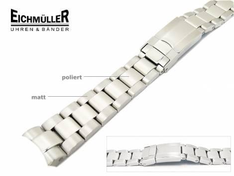 Uhrenarmband 20mm Edelstahl massiv teilweise poliert passend für Rolex etc. von Eichmüller - Bild vergrößern