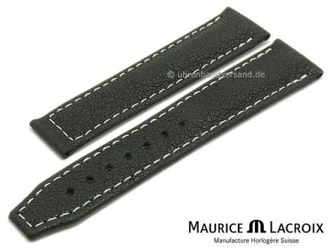 Uhrenarmband Original MAURICE LACROIX 20mm schwarz Wasserbüffel-Leder genarbt helle Naht - Bild vergrößern