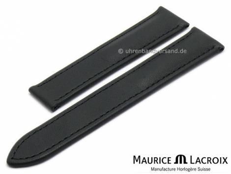 Uhrenarmband Original MAURICE LACROIX 20mm schwarz Leder matt abgenäht - Bild vergrößern