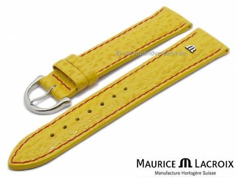 Uhrenarmband Original MAURICE LACROIX 20mm gelb Leder Hai-Prägung rote Naht - Bild vergrößern