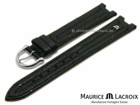 Uhrenarmband Original MAURICE LACROIX 18mm schwarz Straußen-Leder mit Doppel-Wulst abgenäht - Bild vergrößern
