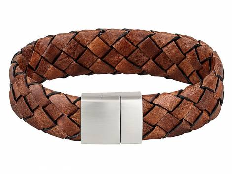 Schmuck-Armband Leder mittelbraun geflochten Magnet-Verschluss Edelstahl von MABRO Steel - Bandlänge ca. 21cm - Bild vergrößern