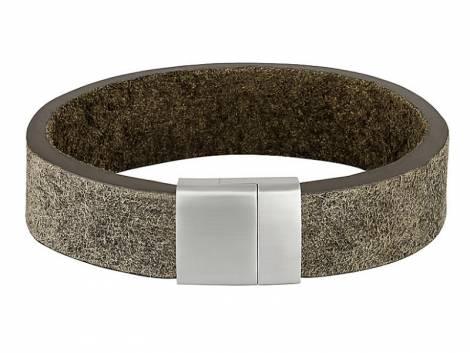 Schmuck-Armband Leder mittelbraun Vintage-Look Magnet-Verschluss Edelstahl von MABRO Steel - Bandlänge ca. 21cm - Bild vergrößern