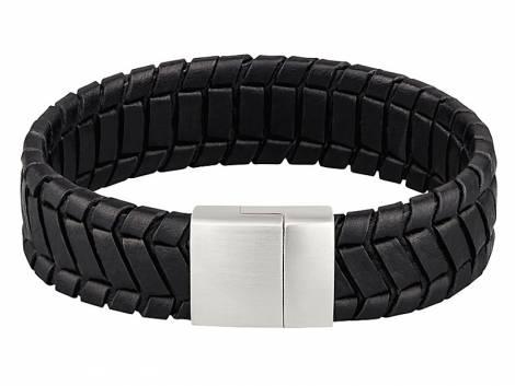 Schmuck-Armband Leder schwarz gemustert Magnet-Verschluss Edelstahl von MABRO Steel - Bandlänge ca. 21cm - Bild vergrößern