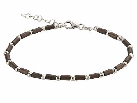 Schmuck-Armband 925er Silber silber/braun rhodiniert Karabiner-Verschluss Silber von MABRO Steel - Bandlänge ca. 19cm - Bild vergrößern