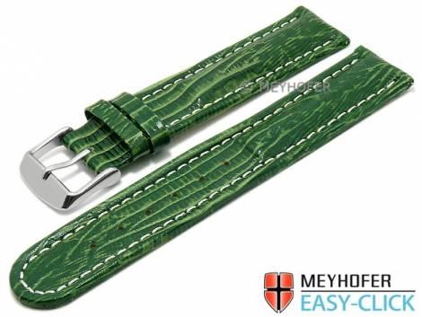 Meyhofer EASY-CLICK Uhrenarmband -Agudo- 18mm grün Leder Teju-Prägung helle Naht (Schließenanstoß 18 mm) - Bild vergrößern