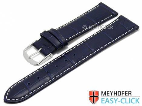 Meyhofer EASY-CLICK Uhrenarmband -Ruston- 24mm dunkelblau Leder Alligator-Prägung helle Naht (Schließenanstoß 22 mm) - Bild vergrößern