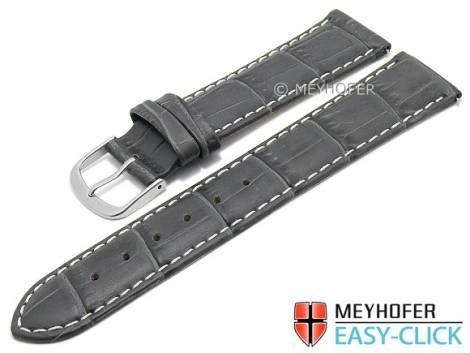 Meyhofer EASY-CLICK Uhrenarmband -Ruston- 24mm dunkelgrau Leder Alligator-Prägung helle Naht (Schließenanstoß 22 mm) - Bild vergrößern