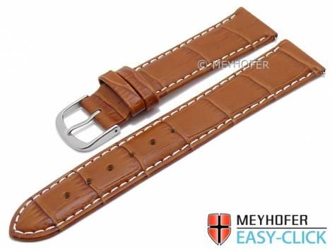 Meyhofer EASY-CLICK Uhrenarmband -Ruston- 22mm hellbraun Leder Alligator-Prägung helle Naht (Schließenanstoß 20 mm) - Bild vergrößern