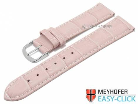 Meyhofer EASY-CLICK Uhrenarmband -Ruston- 22mm pink Leder Alligator-Prägung helle Naht (Schließenanstoß 20 mm) - Bild vergrößern
