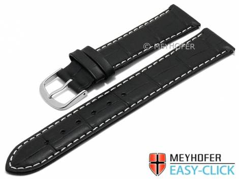 Meyhofer EASY-CLICK Uhrenarmband -Ruston- 20mm schwarz Leder Alligator-Prägung helle Naht (Schließenanstoß 18 mm) - Bild vergrößern