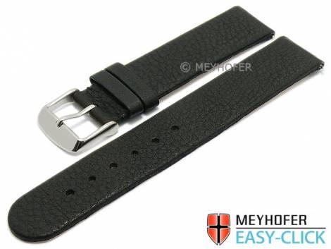 Meyhofer EASY-CLICK Uhrenarmband -Albany- 16mm schwarz Leder vegetabil ohne Naht (Schließenanstoß 16 mm) - Bild vergrößern