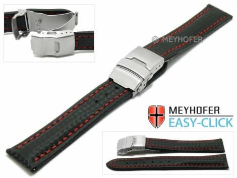 Meyhofer EASY-CLICK Uhrenarmband -Banff- 20mm schwarz Leder Karbon-Look rote Naht Faltschließe (Schließenanstoß 18 mm) - Bild vergrößern