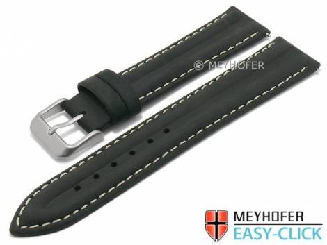 Meyhofer EASY-CLICK Uhrenarmband -Paraiba- 16mm schwarz Leder Vintage-Look helle Naht (Schließenanstoß 14 mm) - Bild vergrößern