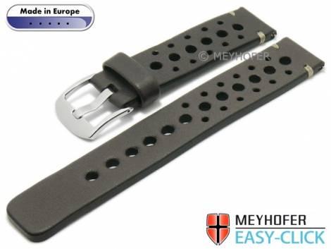Meyhofer EASY-CLICK Uhrenarmband -Drawa- 20mm grau Leder Racing-Look helle Naht (Schließenanstoß 20 mm) - Bild vergrößern