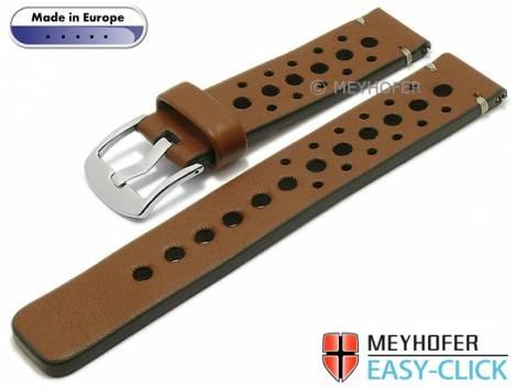 Meyhofer EASY-CLICK Uhrenarmband -Drawa- 22mm mittelbraun Leder Racing-Look helle Naht (Schließenanstoß 22 mm) - Bild vergrößern