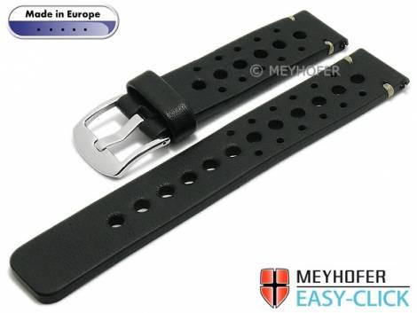 Meyhofer EASY-CLICK Uhrenarmband -Drawa- 20mm schwarz Leder Racing-Look helle Naht (Schließenanstoß 20 mm) - Bild vergrößern