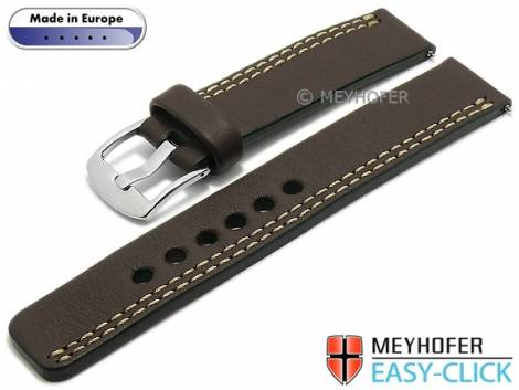 Meyhofer EASY-CLICK Uhrenarmband -Wollin- 22mm dunkelbraun Leder helle einseitige Doppelnaht (Schließenanstoß 22 mm) - Bild vergrößern