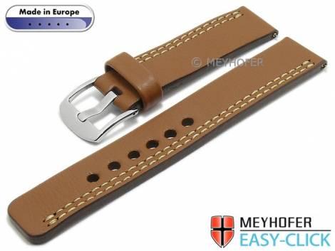 Meyhofer EASY-CLICK Uhrenarmband -Wollin- 20mm mittelbraun Leder helle einseitige Doppelnaht (Schließenanstoß 20 mm) - Bild vergrößern