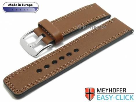 Meyhofer EASY-CLICK Uhrenarmband -Narew- 26mm mittelbraun Leder glatt Doppelnaht (Schließenanstoß 26 mm) - Bild vergrößern