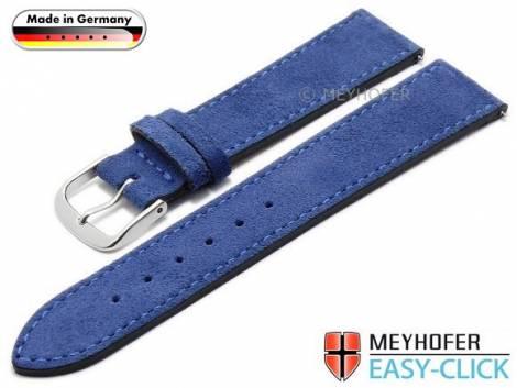 Meyhofer EASY-CLICK Uhrenarmband -Neckar- 20mm royalblau Leder Velours abgenäht Made in Germany (Schließenanstoß 18 mm) - Bild vergrößern