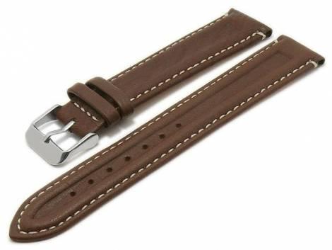 MEYHOFER Basic Uhrenarmband -Coronel- 20mm dunkelbraun Leder genarbt helle Naht (Schließenanstoß 18 mm) - Bild vergrößern