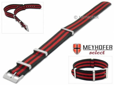 Uhrenarmband -Aurich- 22mm schwarz Nylon/Textil Durchzugsband im NATO-Look mit roten Streifen von Meyhofer - Bild vergrößern