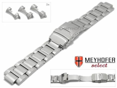 Uhrenarmband -Badalona- 20-22-24mm Edelstahl massiv matt Rundanstoß von MEYHOFER - Bild vergrößern