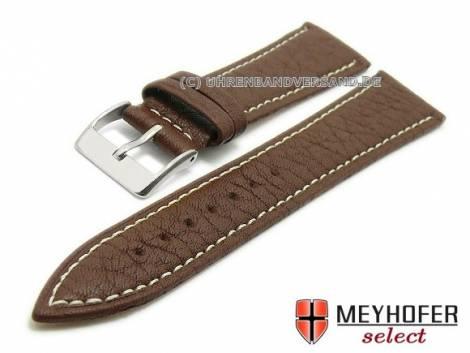 Uhrenarmband -Anadia- 22mm dunkelbraun Schrumpfleder genarbt matt von MEYHOFER (Schließenanstoß 18 mm) - Bild vergrößern