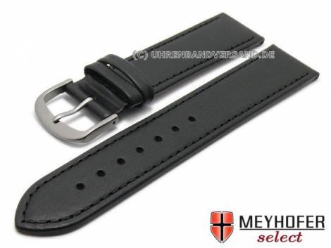 Uhrenarmband -Kattavia- 20mm schwarz mit Titanschließe Nappaleder MEYHOFER (Schließenanstoß 18 mm) - Bild vergrößern