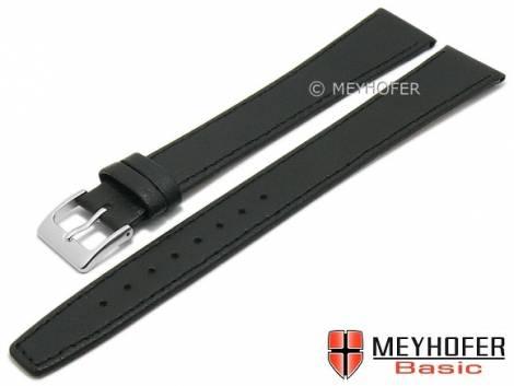 MEYHOFER Basic Uhrenarmband XL -Burbank- 24mm schwarz Leder superlang abgenäht (Schließenanstoß 22 mm) - Bild vergrößern