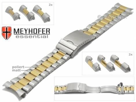 Uhrenarmband -Livonia- 22-24-26mm bicolor silber/goldfarben Edelstahl teilweise poliert Wechselanstoß von MEYHOFER - Bild vergrößern