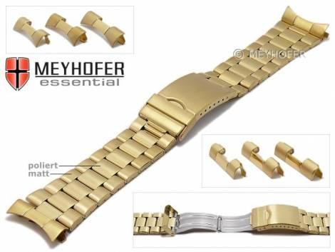 Uhrenarmband -Livonia- 22-24-26mm goldfarben Edelstahl gefaltet teilweise poliert Wechselanstoß von MEYHOFER - Bild vergrößern