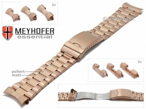 Uhrenarmband -Livonia- 22-24-26mm roségoldfarben Edelstahl gefaltet teilweise poliert Wechselanstoß von MEYHOFER - Bild vergrößern