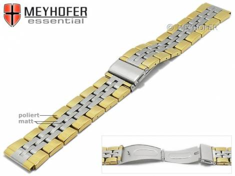 Uhrenarmband -Bellingham- 20mm bicolor Edelstahl gefaltet Massiv-Look teilweise poliert von MEYHOFER - Bild vergrößern