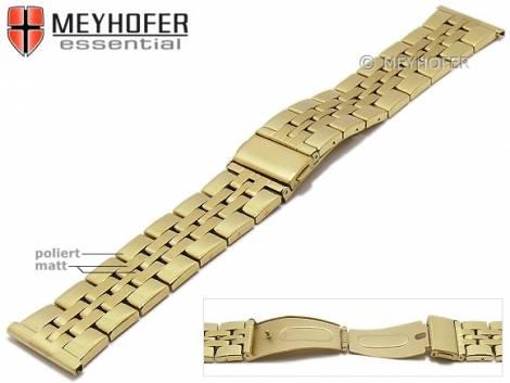 Uhrenarmband -Bellingham- 24mm goldfarben Edelstahl gefaltet Massiv-Look teilweise poliert von MEYHOFER - Bild vergrößern