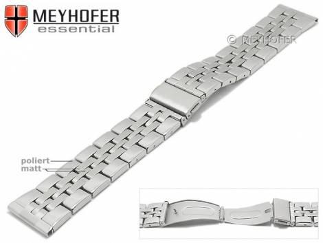 Uhrenarmband -Bellingham- 22mm Edelstahl gefaltet Massiv-Look teilweise poliert von MEYHOFER - Bild vergrößern