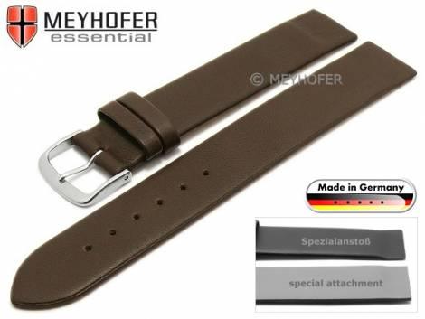 Uhrenarmband -Kronach- 22mm dunkelbraun Leder Spezialanstoß für verschr. Gehäuse von MEYHOFER (Schließenanstoß 20 mm) - Bild vergrößern