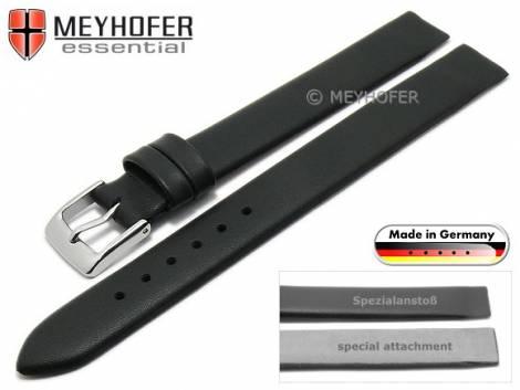 Uhrenarmband -Kronach- 14mm schwarz Leder Spezialanstoß für verschr. Gehäuse von MEYHOFER (Schließenanstoß 14 mm) - Bild vergrößern