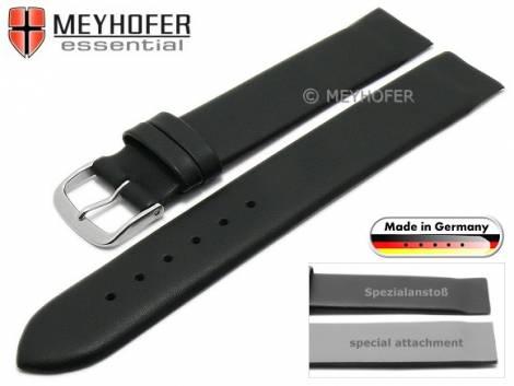 Uhrenarmband -Kronach- 16mm schwarz Leder Spezialanstoß für verschr. Gehäuse von MEYHOFER (Schließenanstoß 16 mm) - Bild vergrößern