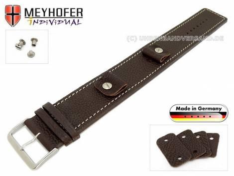 Uhrenarmband -Kassel Classic- 14-16-18-20mm Wechselanstoß dunkelbraun Leder genarbt helle Naht Unterlagenband Meyhofer - Bild vergrößern