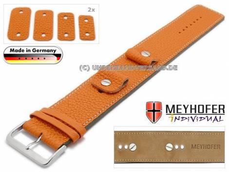 Uhrenarmband -Kassel Classic- 14-16-18-20mm Wechselanstoß orange Leder genarbt helle Naht Unterlagenband von Meyhofer - Bild vergrößern