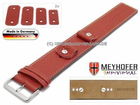 Uhrenarmband -Kassel Classic- 14-16-18-20mm Wechselanstoß rot Leder genarbt helle Naht Unterlagenband von Meyhofer - Bild vergrößern