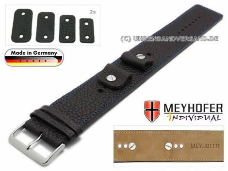 Uhrenarmband -Kassel- 14-16-18-20mm Wechselanstoß schwarz Leder genarbt blaue Naht Unterlagenband von Meyhofer - Bild vergrößern