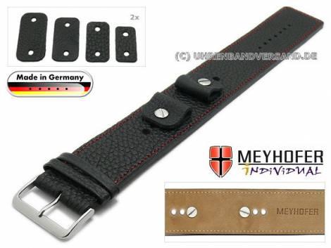 Uhrenarmband -Kassel- 14-16-18-20mm Wechselanstoß schwarz Leder genarbt rote Naht Unterlagenband von Meyhofer - Bild vergrößern